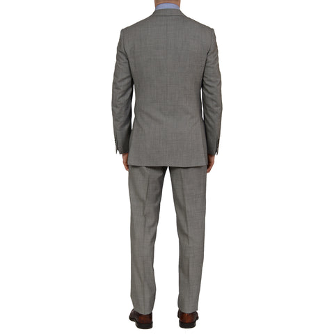 D'AVENZA Roma Handmade Gray Wool Peak Lapel Suit EU 56 NEW US 46