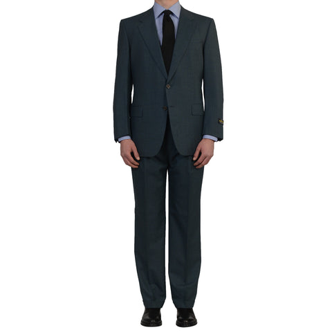 D'AVENZA Roma Handmade Green-Blue Wool Suit EU 54 NEW US 44
