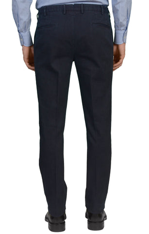 INCOTEX (SLOWEAR) DARK BLUE COTTON FLAT FRONT SLIM FIT PANTS NEW