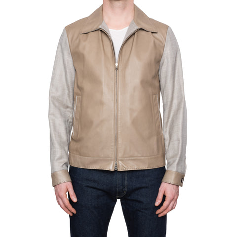 CESARE ATTOLINI Napoli Tan-Gray Leather Linen Blouson Flight Jacket 52 NEW US 42