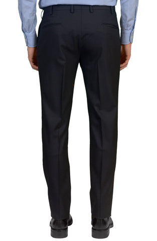 INCOTEX (Slowear) Solid Navy Blue Wool Stretch Flat Front Slim Fit Pants NEW