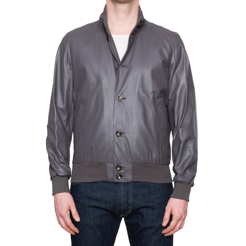 CESARE ATTOLINI Napoli Gray Leather Wool Lined Bomber Jacket NEW US 40 EU 50 M
