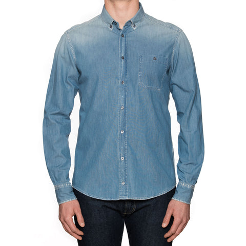 7 FOR ALL MANKIND Blue Denim Button-Down Collar Casual Shirt US L