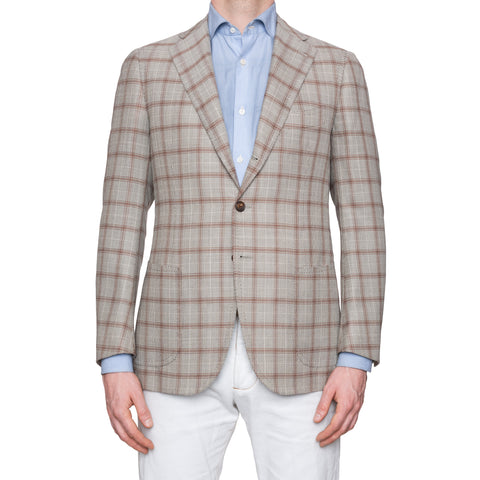 CESARE ATTOLINI Napoli Gray Plaid Wool Silk Blazer Jacket EU 48 NEW US 38