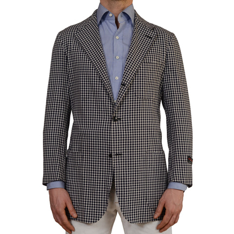 "D'AVENZA Roma ""Fresco"" Blue Plaid Cotton Unlined Blazer Jacket EU 50 NEW US 40"