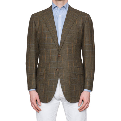 CESARE ATTOLINI Olive Shepherd Check Wool Flannel Blazer Jacket EU 50 NEW US 40
