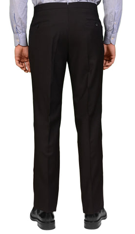 ADRIANO FRACASSI Black Wool Single Pleated Dress Pants 34 NEW 50 Classic Fit - SARTORIALE