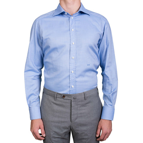 DI PIETRO Handmade Bespoke Blue Cotton Oxford Dress Shirt US 16.5