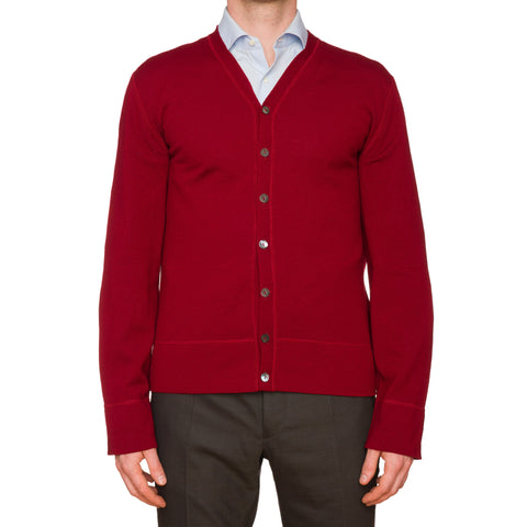 ALESSANDRO DELL'ACQUA Red Merino Wool Cardigan Sweater EU 52 NEW US L