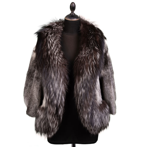 ALEXANDER MCQUEEN Silver Fox - Mink Fur Coat Jacket Size IT 42 NEW US 8