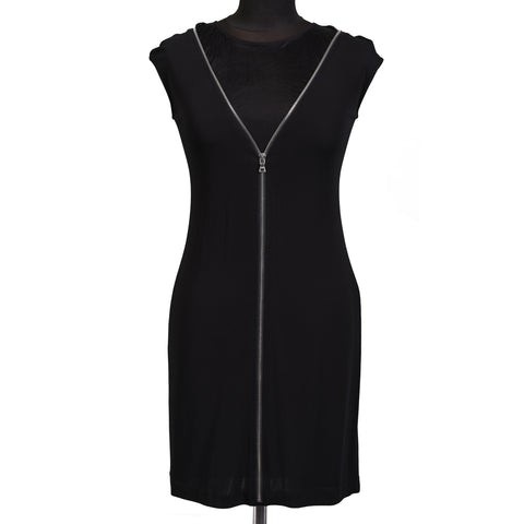 ALEXANDER WANG Black Runway Mini Short Shift Dress With Zipper NEW US 2