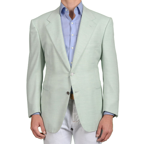 AMIR Handmade Mint Green Cashmere-Cotton Blazer Jacket EU 56 NEW US 46