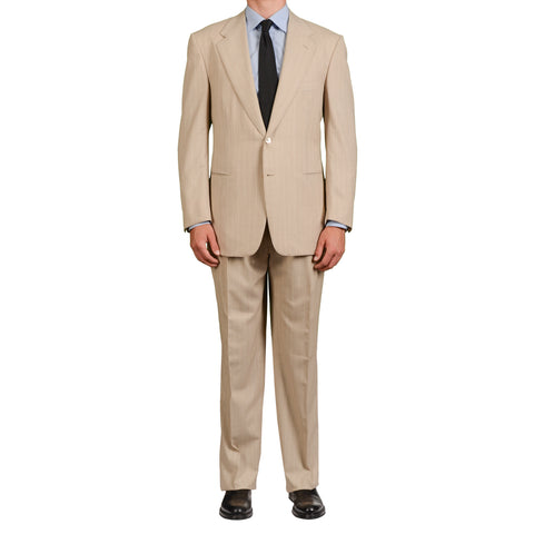 AMIR by D'AVENZA Handmade Beige Super 150's Suit EU 54 NEW US 44 Luxury