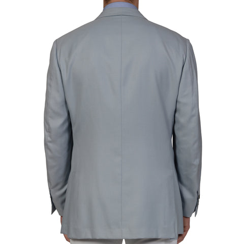 AMIR by D'AVENZA Handmade Light Blue Cashmere Silk Blazer Jacket EU 54 NEW US 44