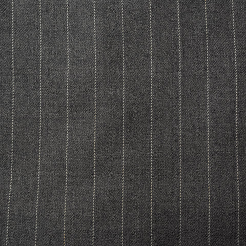 ANDERSON & SHEPPARD Savile Row Bespoke Gray Striped Wool DB Suit US 44 46