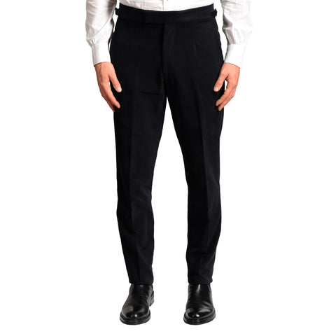 ANDERSON & SHEPPARD Black Cotton Flat Front Slim Fit Pants EU 50 US 34