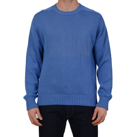 ANDERSON & SHEPPARD Blue Cotton Knitted Ribbed Crewneck Sweater Size L