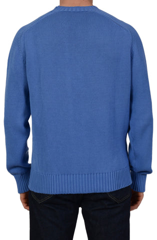 ANDERSON & SHEPPARD Blue Cotton Knitted Ribbed Crewneck Sweater Size L NEW
