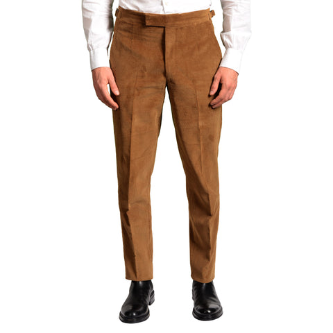 ANDERSON & SHEPPARD Brown Cotton Corduroy Slim Fit Pants EU 50 US 34