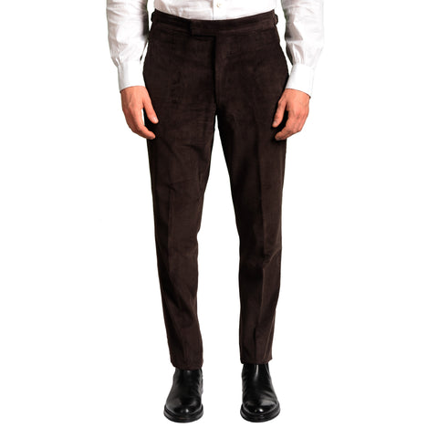ANDERSON & SHEPPARD Dark Brown Cotton Corduroy Slim Fit Pants EU 50 US 34