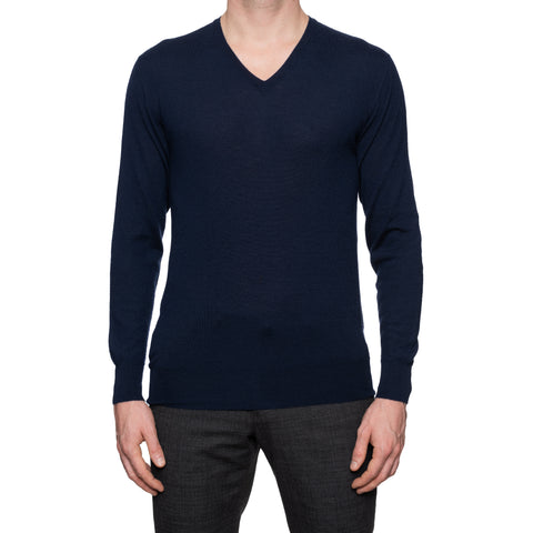ANDERSON & SHEPPARD Navy Blue Cashmere V-Neck Sweater Size M