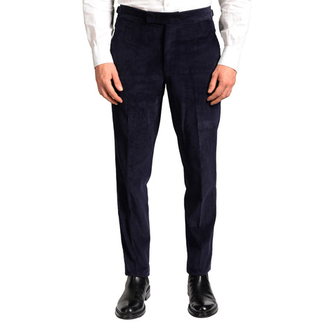 ANDERSON & SHEPPARD Navy Blue Cotton Corduroy Slim Fit Pants EU 50 US 34