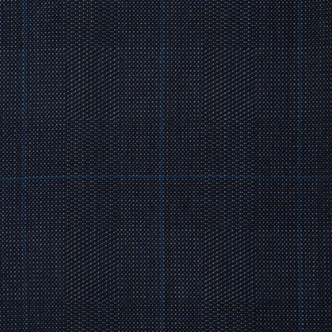 ANDERSON & SHEPPARD Savile Row Bespoke Navy Blue Plaid Wool Suit US 44