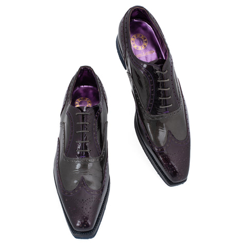 APEX by SILVANO LATTANZI Purple-Gray Patent Leather Oxford Shoes NEW US 9.5