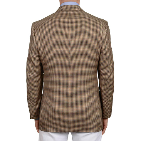 AVI ROSSINI Handmade Brown Houndstooth Silk DB Jacket EU 50 NEW US 40