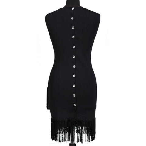 "AZZARO Paris Black ""Grandiose"" Fringed Cocktail Dress Size FR 36 US 6"
