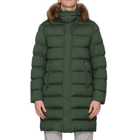 COLMAR Green Down-Feather Fur Trimmed Hooded Parka Jacket Coat NEW