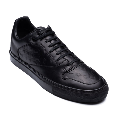 BALENCIAGA Black Debossed Leather Low-Top Sneaker Shoes FR 40 US 7 NEW Box