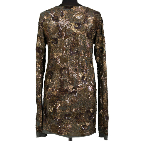 BALMAIN PARIS Handmade Sequined Army Green Dress FR 40 NEW US 8
