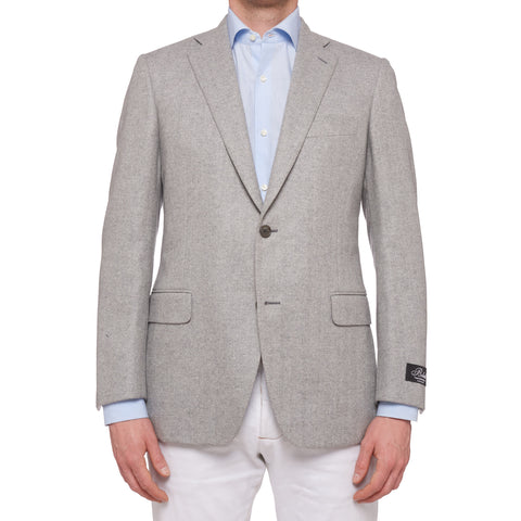 BELVEST Hand Made Gray Herringbone Cashmere Flannel Blazer Jacket NEW Portly