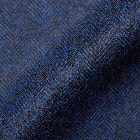 BELVEST Hand Made In Italy Blue Herringbone Wool Blend Flannel Blazer Jacket NEW