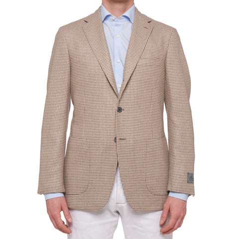 BELVEST Hand Made In Italy Tan Houndstooth Cashmere Unlined Blazer Jacket NEW