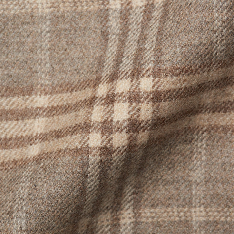 BELVEST Hand Made Tan Prince Of Wales Wool Cashmere Flannel Jacket 50 NEW US 40