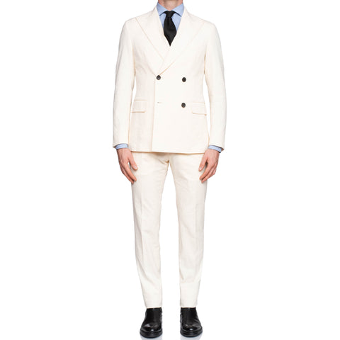BELVEST Handmade Cream Cotton Seersucker DB Suit EU 48 NEW US 38 Slim Fit