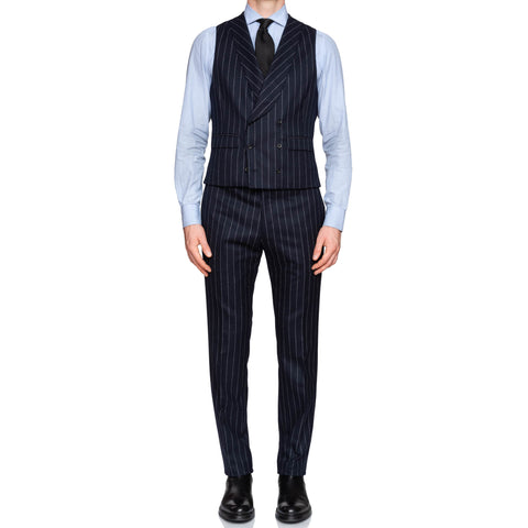 BELVEST Handmade Navy Blue Chalk Striped Super 120's 3 Piece Suit NEW