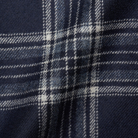 BELVEST Navy Blue Plaid Cashmere Silk Suede Elbow Patch Jacket EU 52 NEW US 42