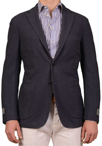 BELVEST Hand Made Blue Silk Cashmere Twill Flannel Blazer Jacket EU 50 NEW US 40
