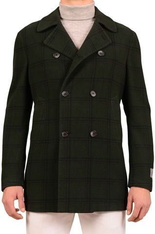 BELVEST Hand Made Green Windowpane Wool Cashmere DB Pea Coat 50 NEW 40