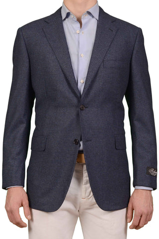 BELVEST Hand Made Blue Houndstooth Wool Cashmere Blazer Jacket NEW US 46 EU 56 S