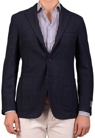 BELVEST Hand Made Navy Blue POW Wool Cotton Flannel Jacket EU 50 NEW US 40