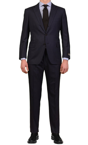 BELVEST Hand Made Navy Blue Striped Super 140's Wool Suit EU 58 NEW US 48 Short