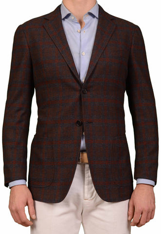 BELVEST Hand Made Rust Brown Plaid Cashmere Flannel Jacket EU 50 NEW US 40