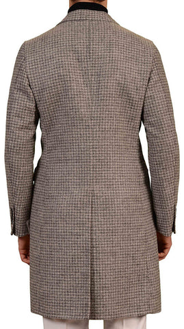 BELVEST Hand Made Gray Plaid Baby Alpaca Blend Overcoat EU 50 NEW US 40