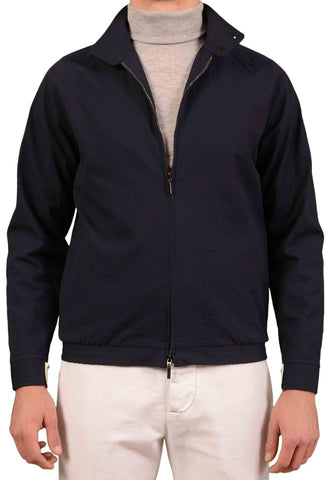 BELVEST Italy Hand Made Navy Blue Cotton Blouson Bomber Jacket EU 50 NEW US 40