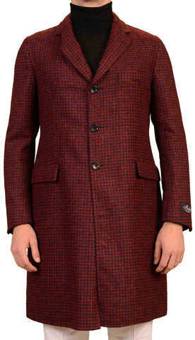BELVEST Hand Made Red Blue Plaid Baby Alpaca Blend Overcoat EU 50 NEW US 40