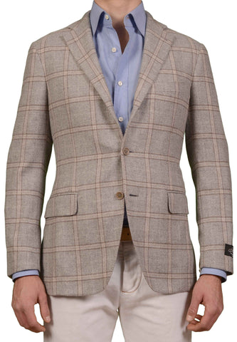 BELVEST JACKETINTHEBOX Gray Windowpane Cashmere Unlined Jacket NEW US 40 EU 50